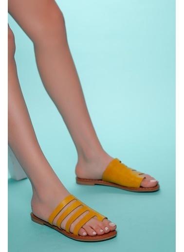 Muggo Hakiki Deri Sandalet Hardal